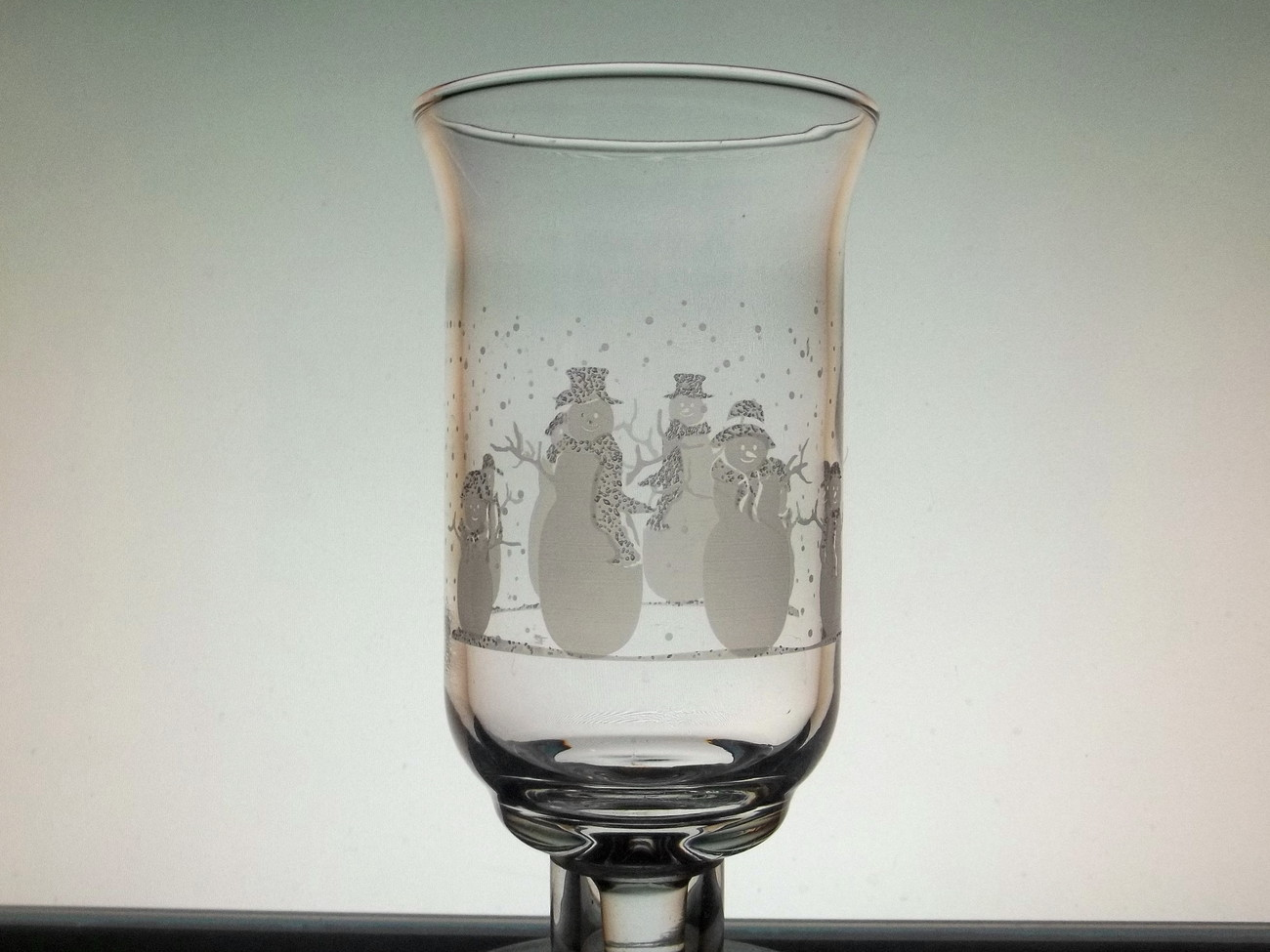 Home Interiors Peg Votive Holder Cup Glass Snowman Family