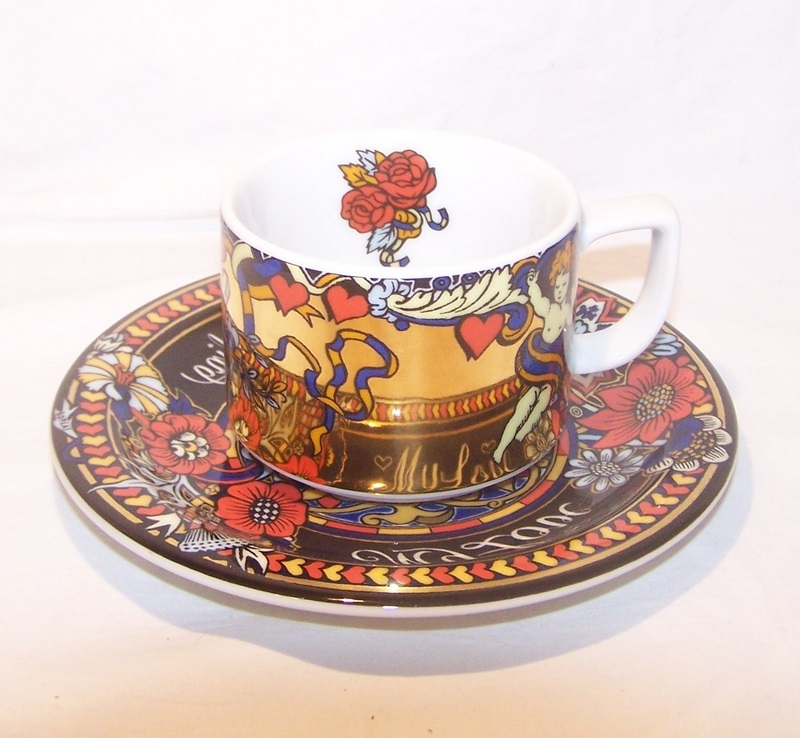 Bopla_magic_switerzerland_collectible_cup_matching_saucer_dish_colorful_gold_vibrant_dishwasher_safe_ovenproof_porcelain_material_handle