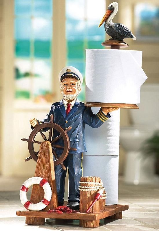 Sea Captain Nautical Toilet paper Holder, Heavy