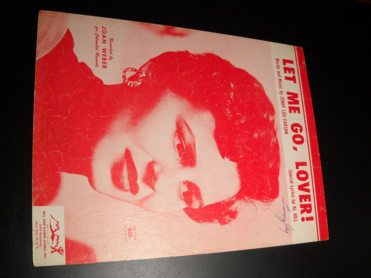 Sheet Music Let Me Go Lover Joan Weber Jenny Lou Carson Al Hill 1954 Columbia