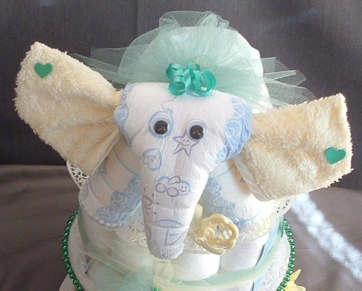 elephant diaper cake topper baby shower decorations