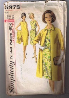 Vintage 1964 - SIMPLICITY 5373 - Misses' Dress & Coat Size 14 - Cut and Complete Simplicity