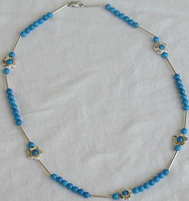 Turquoise flowers necklace   Bonanza
