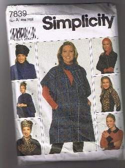 SIMPLICITY 7839 - Poncho, Hats, Scarf, Headband - Sizes XS to L - UNCUT Simplicity