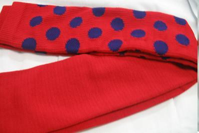 RED with PURPLE DOTS CLOWN SOCKS OVER KNEE SPORTS STYLE Bonanza
