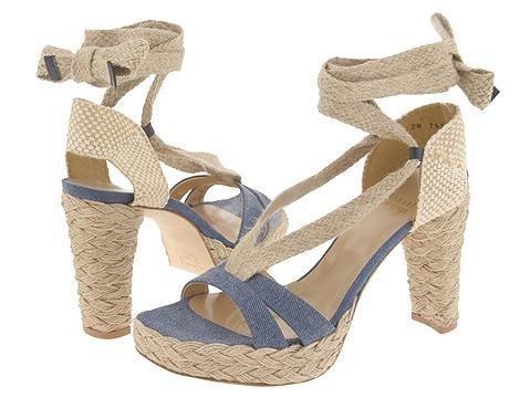 Stuart Weitzman Womens SZ 9.5 Espadrille Shoes Bandana Navy Wrap Platform Heels