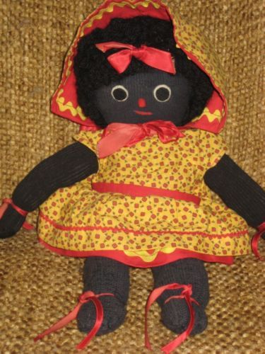 RARE VINTAGE BLACK CLOTH SOCK DOLL PICKANINNY EXCELLENT
