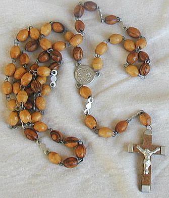 Wood Rosary Jerusalem Cross