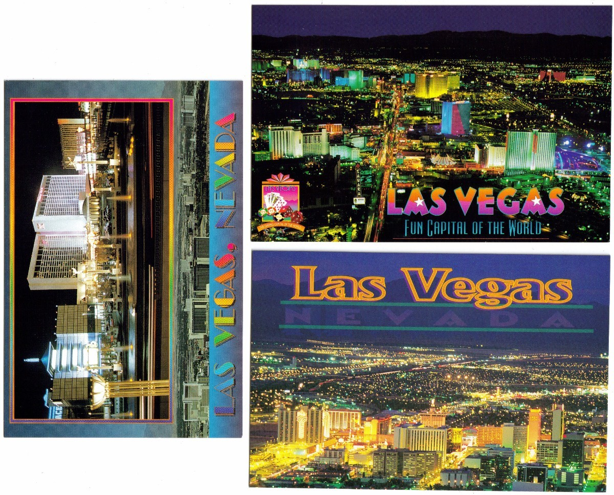 Six vintage 1980 39 s las vegas postcards ex nevada for Body jewelry las vegas