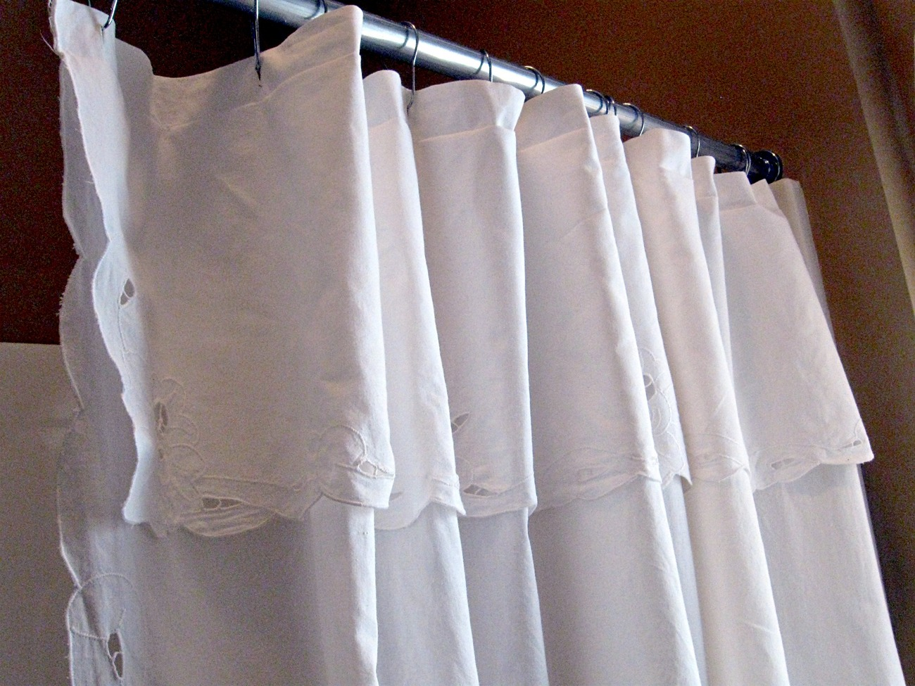 Shower Curtains: Pretty White Cotton Cutwork Lace Shower Curtain.