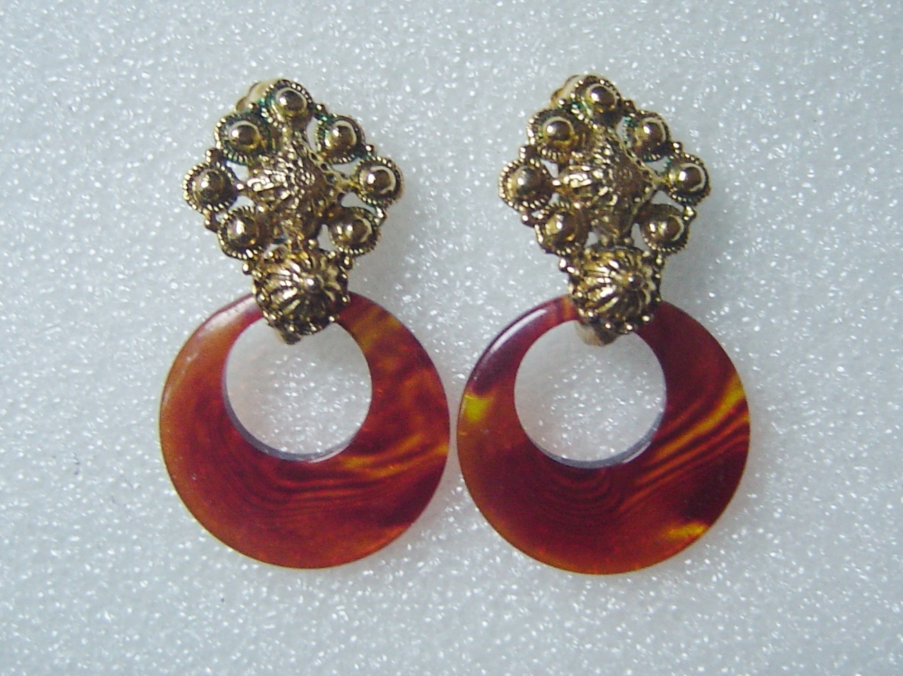 R J Graziano Tortoise & Gold Drop Hoop Earrings Clip