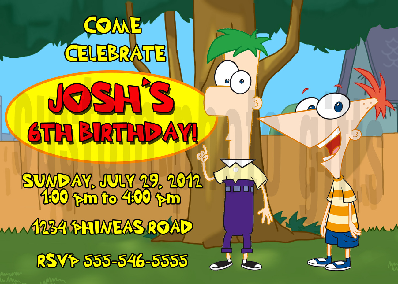 Personalized Phineas And Ferb Birthday Invitation Digital