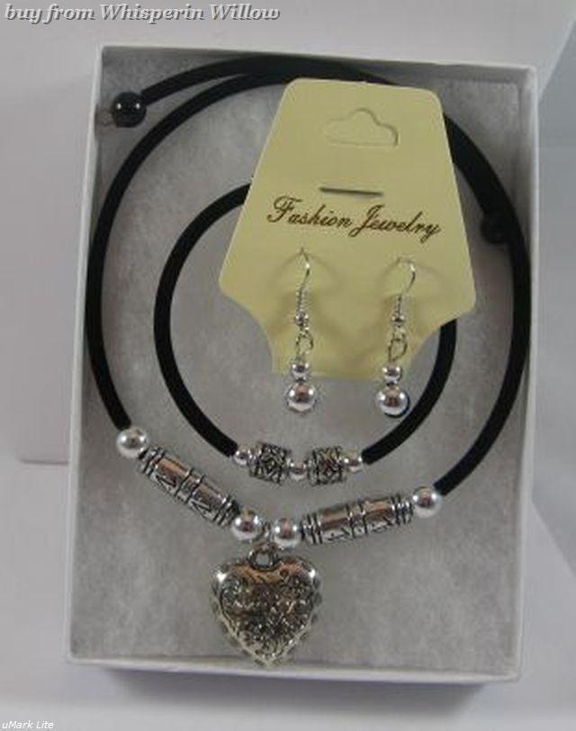 Antique Silver & Black Heart Necklace/Bracelet/ Earring Set Bonanza