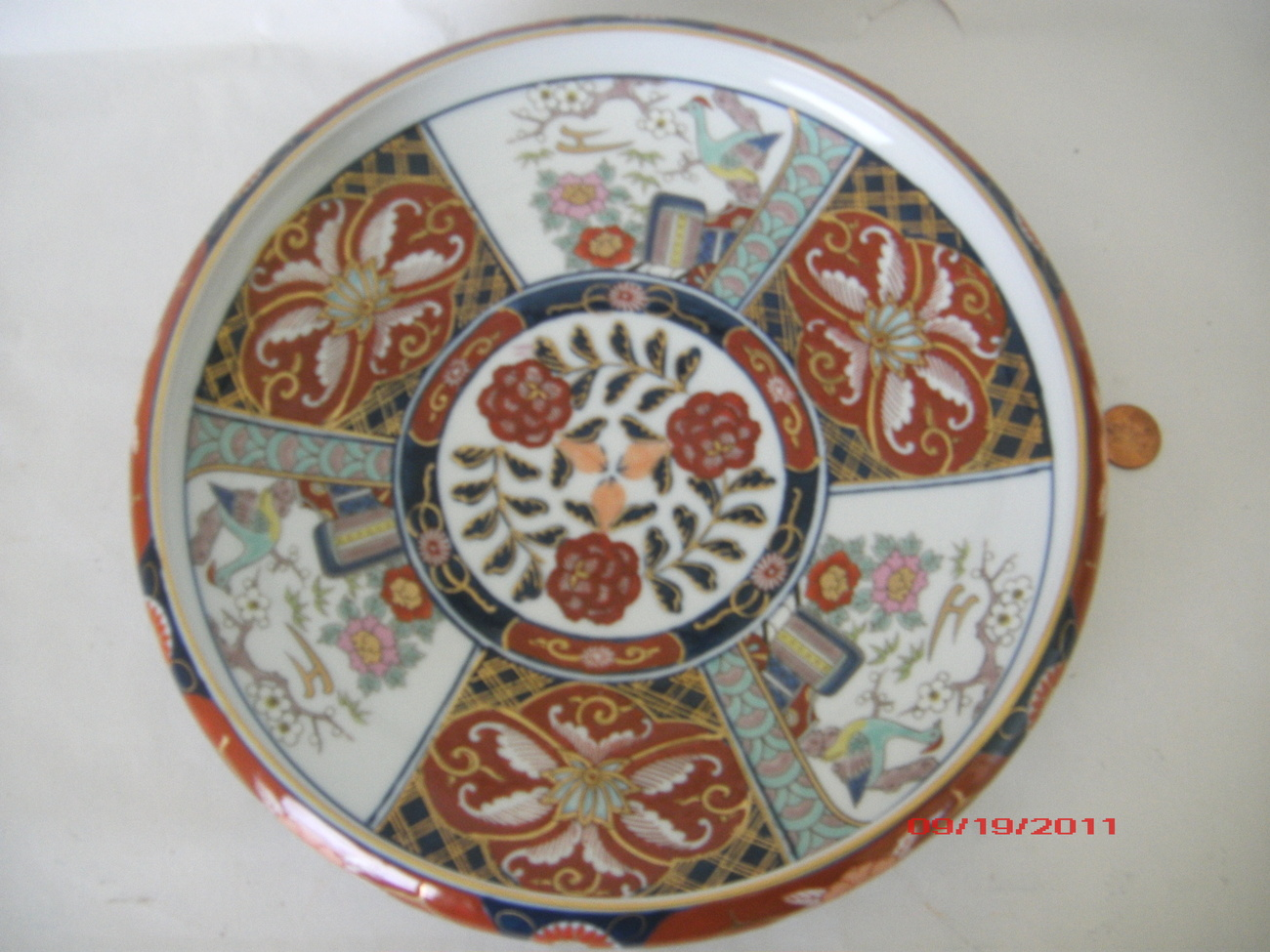 "GOLD IMARI JAPANESE PORCELAIN BOWL ""HAND PAINTED"""