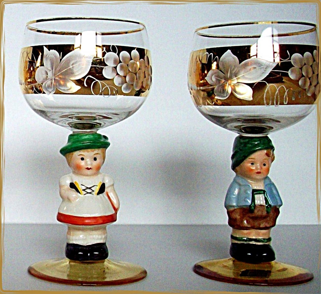 Hummel Crystal Wine Glass Set by Goebel Germany Vintage Girl and Boy Handpainted