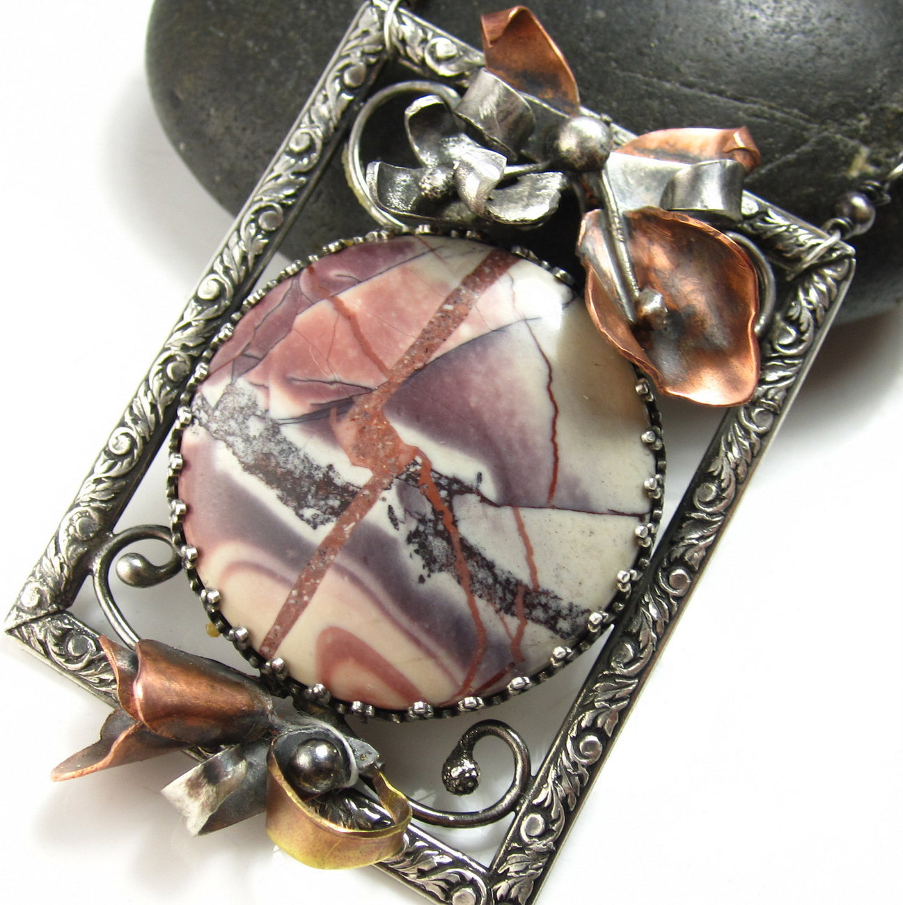 On the Gallery Wall Necklace - Jasper  and Sterling Silver