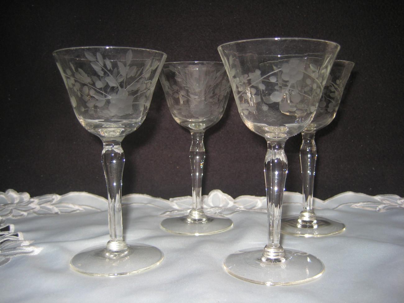 Engraved Cut Crystal Wine Glasses