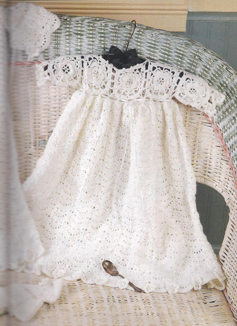 Vintage Baby Doll Dress Christening Crochet Pattern Easy