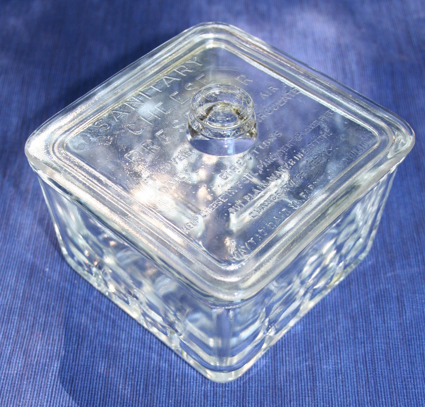 Vintage Maytag Dairy Farms glass sanitary cheese preserver container with cover