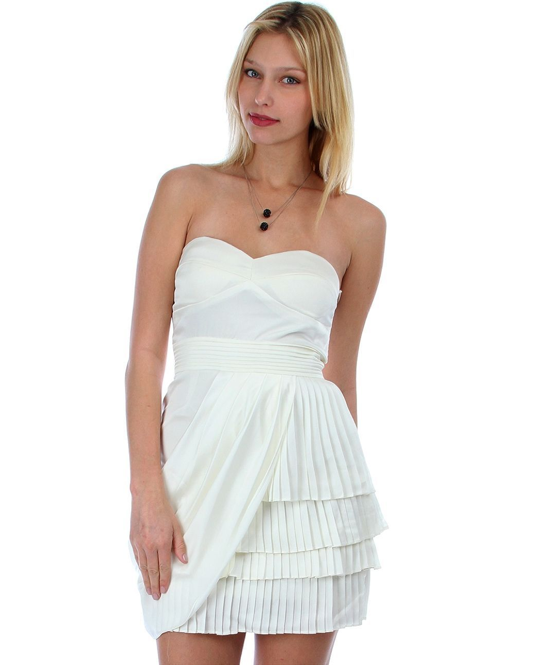 Image 0 of Sexy Juniors Strapless Ivory Tiered Draped Party Cruise Club Mini Dress - Ivory/