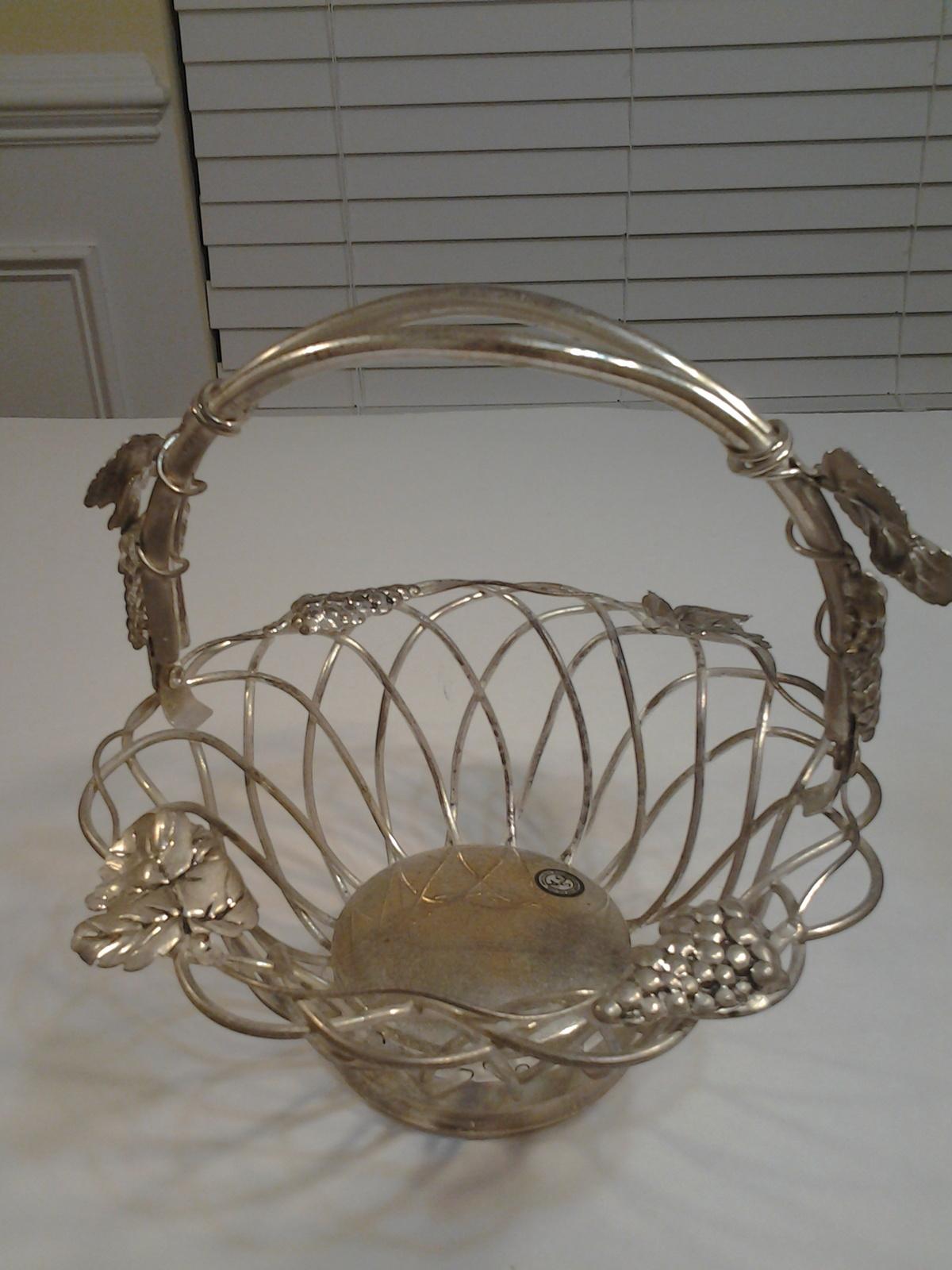 Godinger Silver Art Co Basket : Godinger silver art grape fruit basket with handle