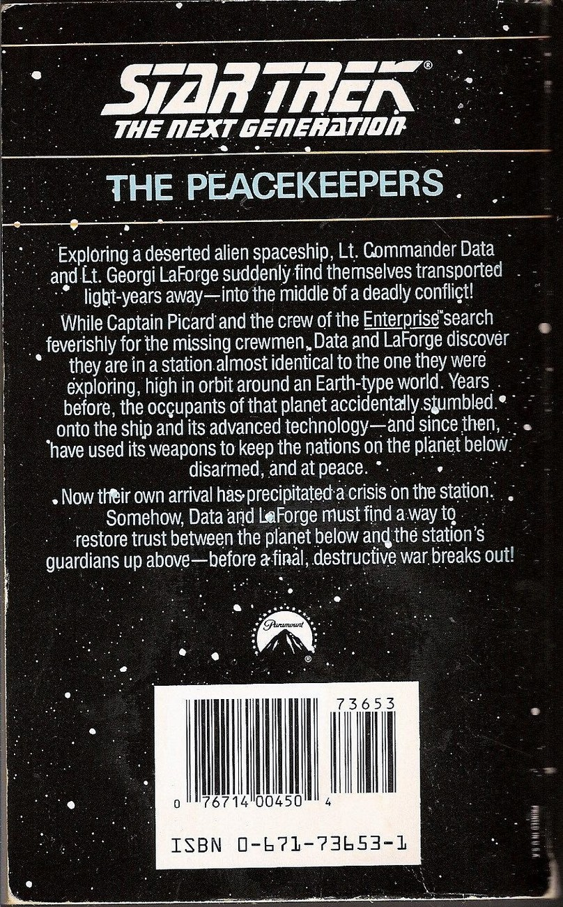 Image 1 of The Peacekeepers Star Trek TNG book 2 by Gene Deweese 1988