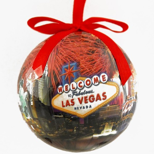 Welcome Las Vegas Sign Hotels Fireworks Christmas Tree