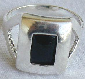 Fashion black agate square ring