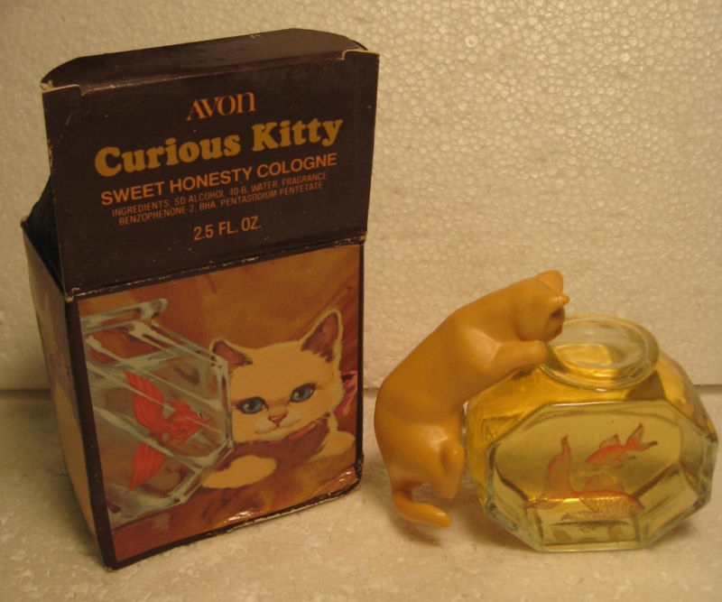 Avon Curious Kitty decanter with Hear's my Heart Cologne