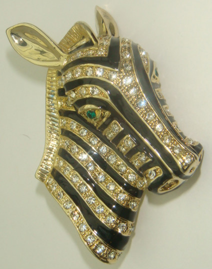 Vtg Zebra Pin Rhinestone Safari Jungle Austrian Crystal African Horse Exotic