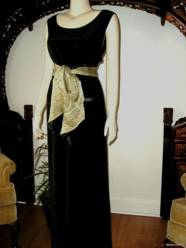 SOLD! Vtg 70s DIANE von FURSTENBERG Black SILK MAXI Dress L