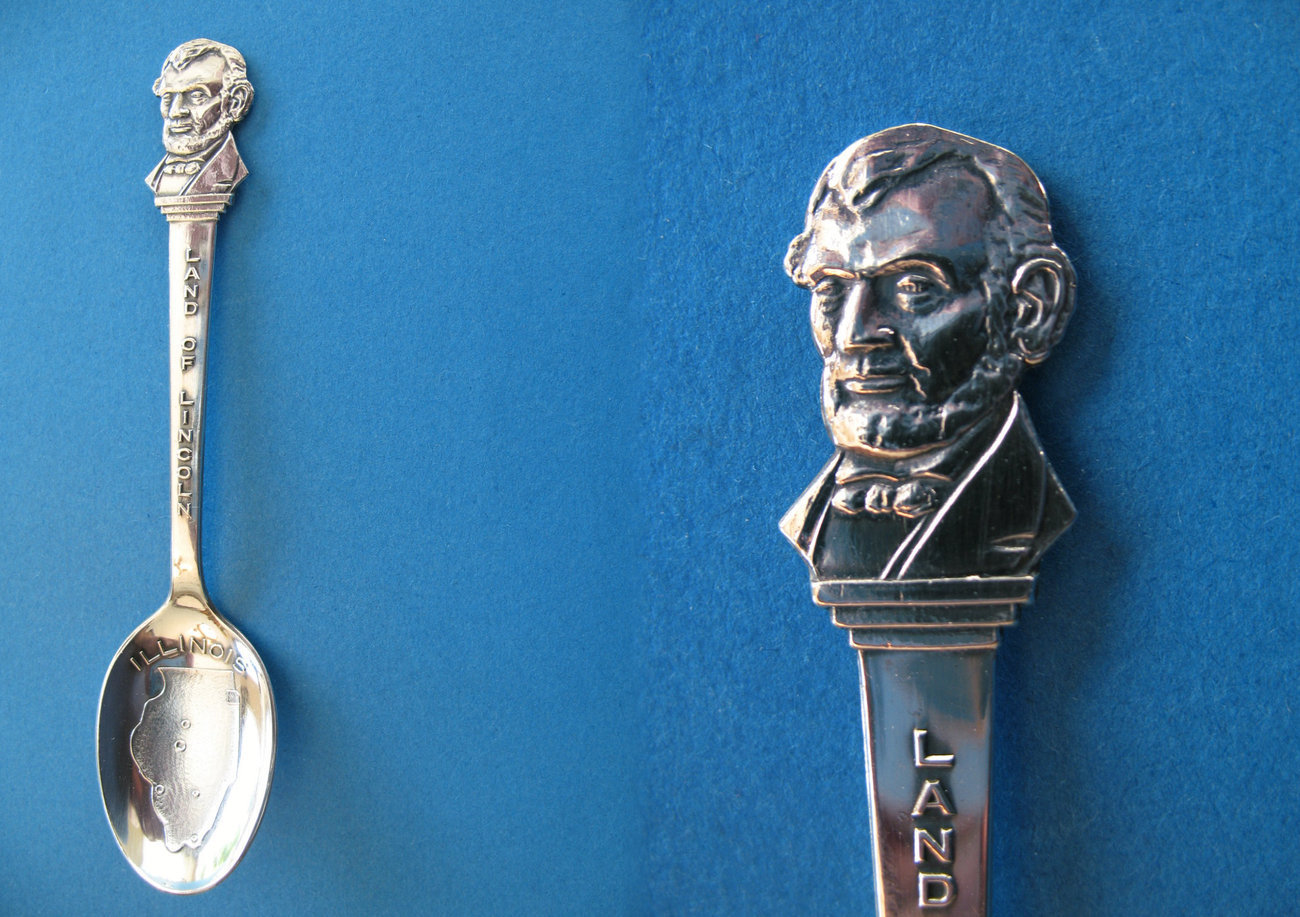 Illinois Land of Lincoln Sterling Silver Souvenir Spoon