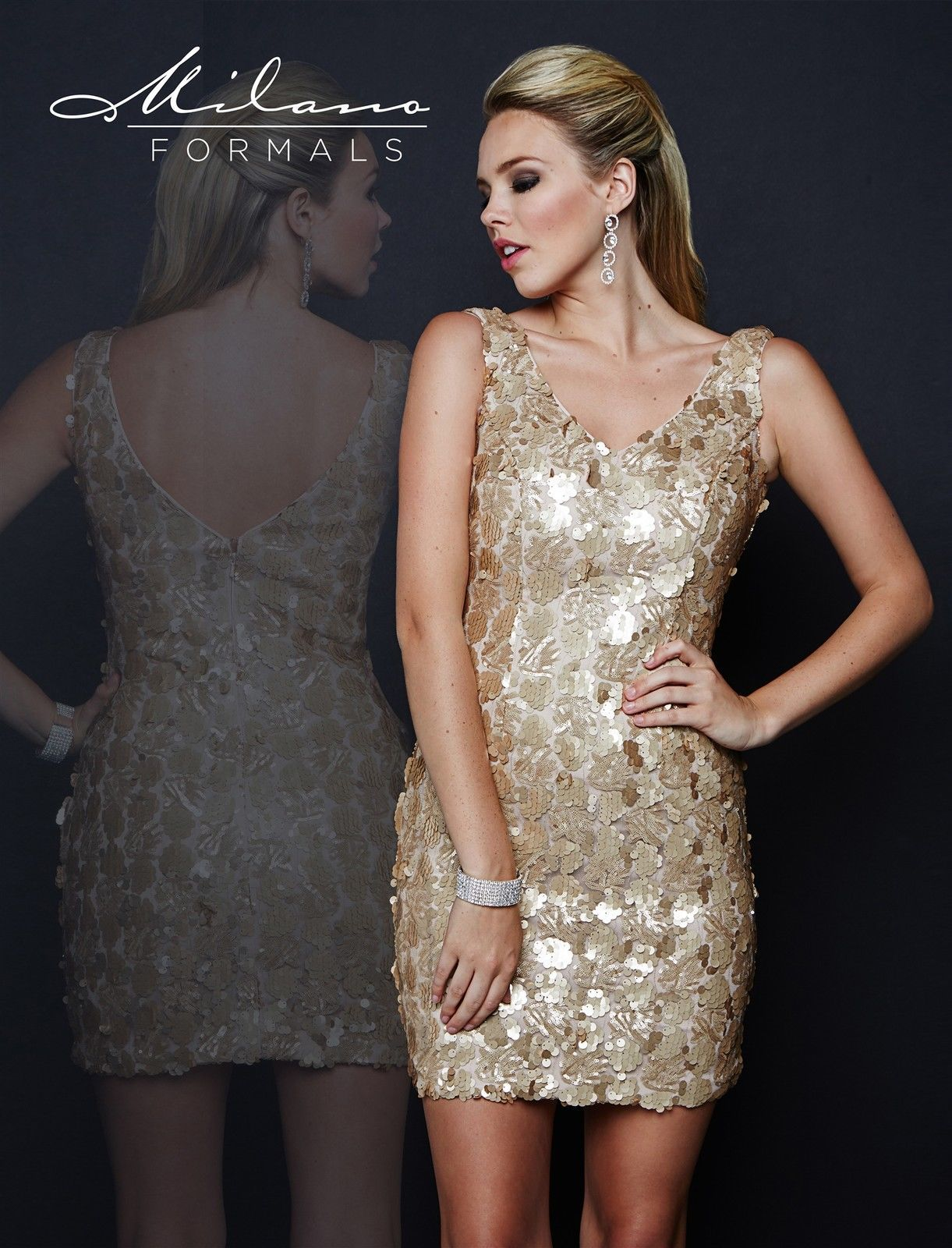 Image 1 of Milano Formals E1678 V-Neck Fitted Nude Gold Color Sequin Party Mini Dress 10