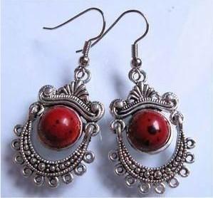 Tibet_silver_red_coral_pearl_earrings