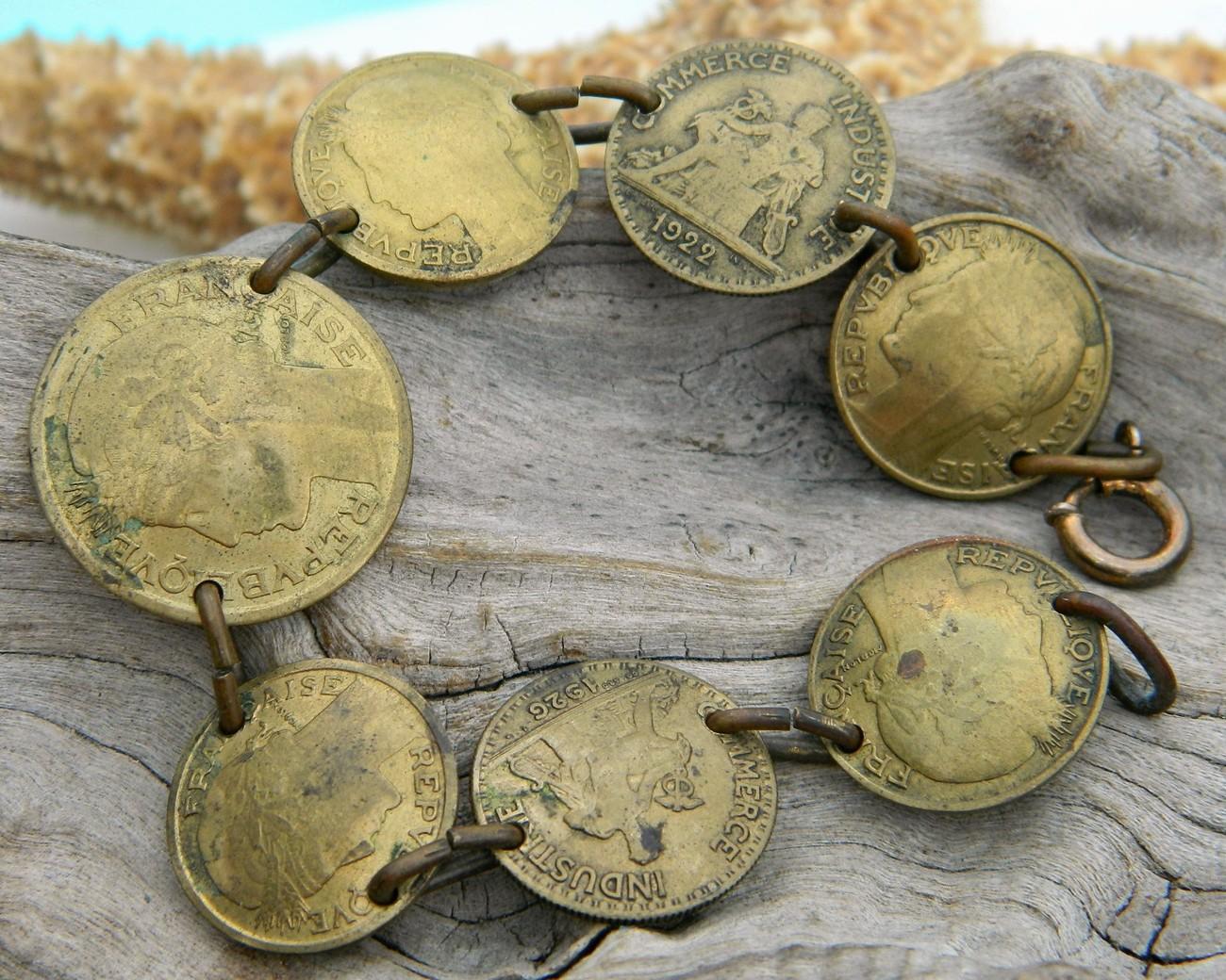 vintage coin bracelet france bronze centimes bon pour 1940s bracelets. Black Bedroom Furniture Sets. Home Design Ideas