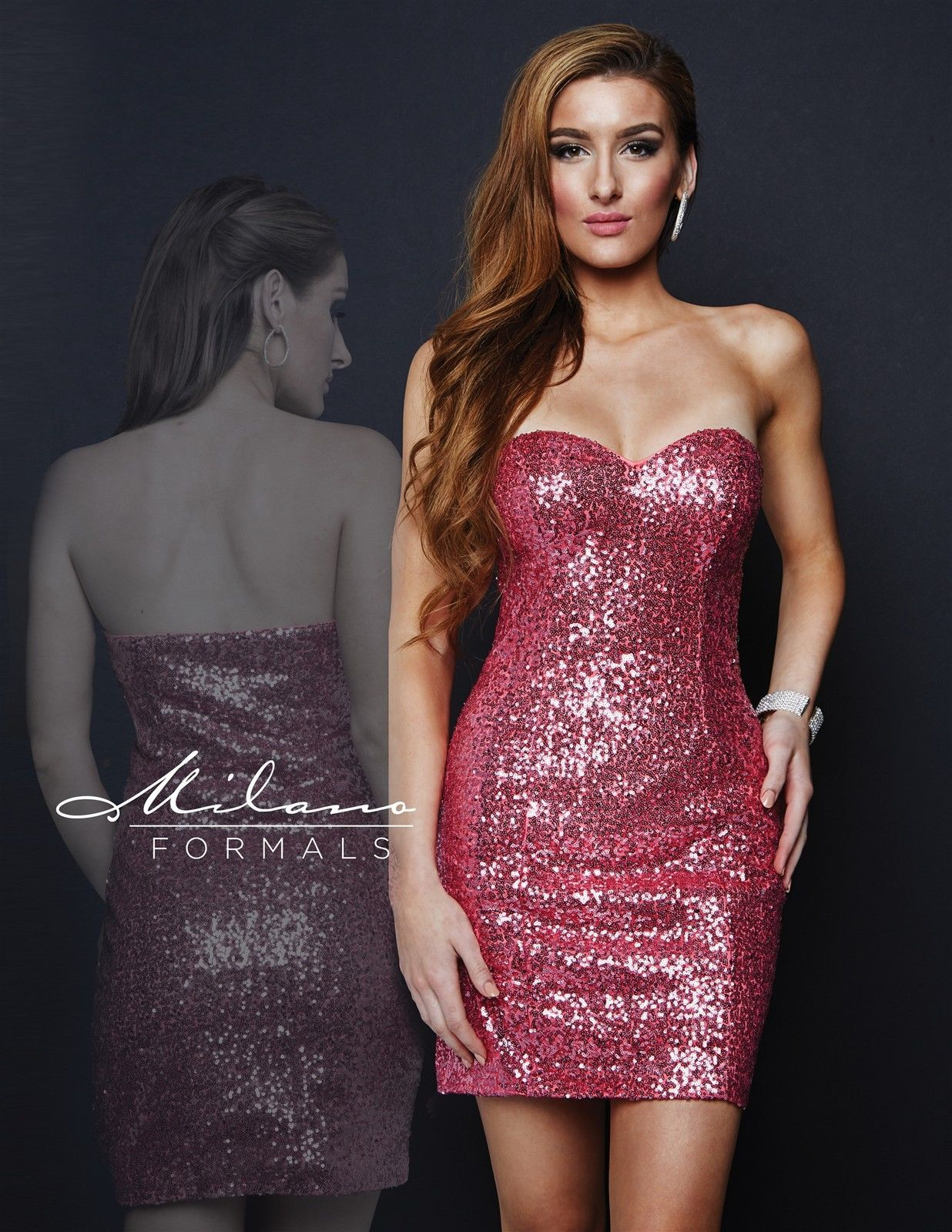 Image 1 of Milano Formals E1670 Light Fuchsia Pink Sequins Strapless Party Mini Dress 12