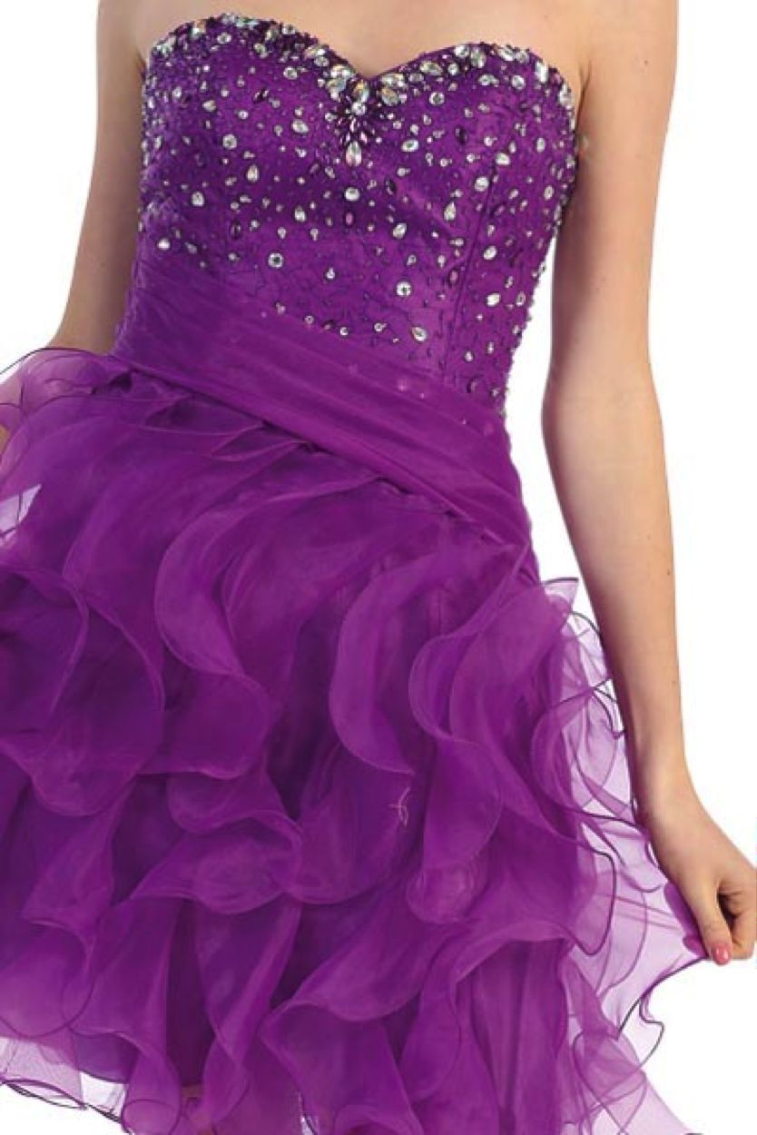 Image 3 of Sexy Strapless Beaded Bodice Ruffled Skirt Short Prom Party Missy Formal Dress -