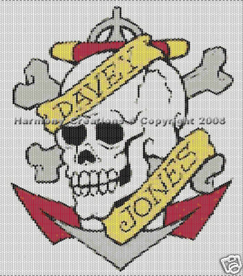 Bead Pattern Skull Bones & Anchor Peyote Stitch Tattoo Desig
