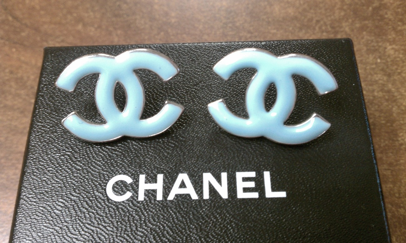 "CHANEL BABY BLUE ""CC"" LOGO EARRINGS"