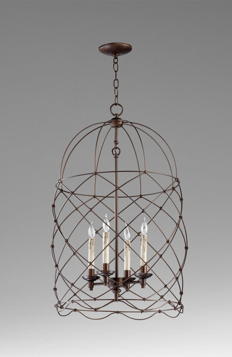 Foyer Lighting Oil Rubbed Bronze : Wire bird cage foyer light pendant quot h oil rubbed