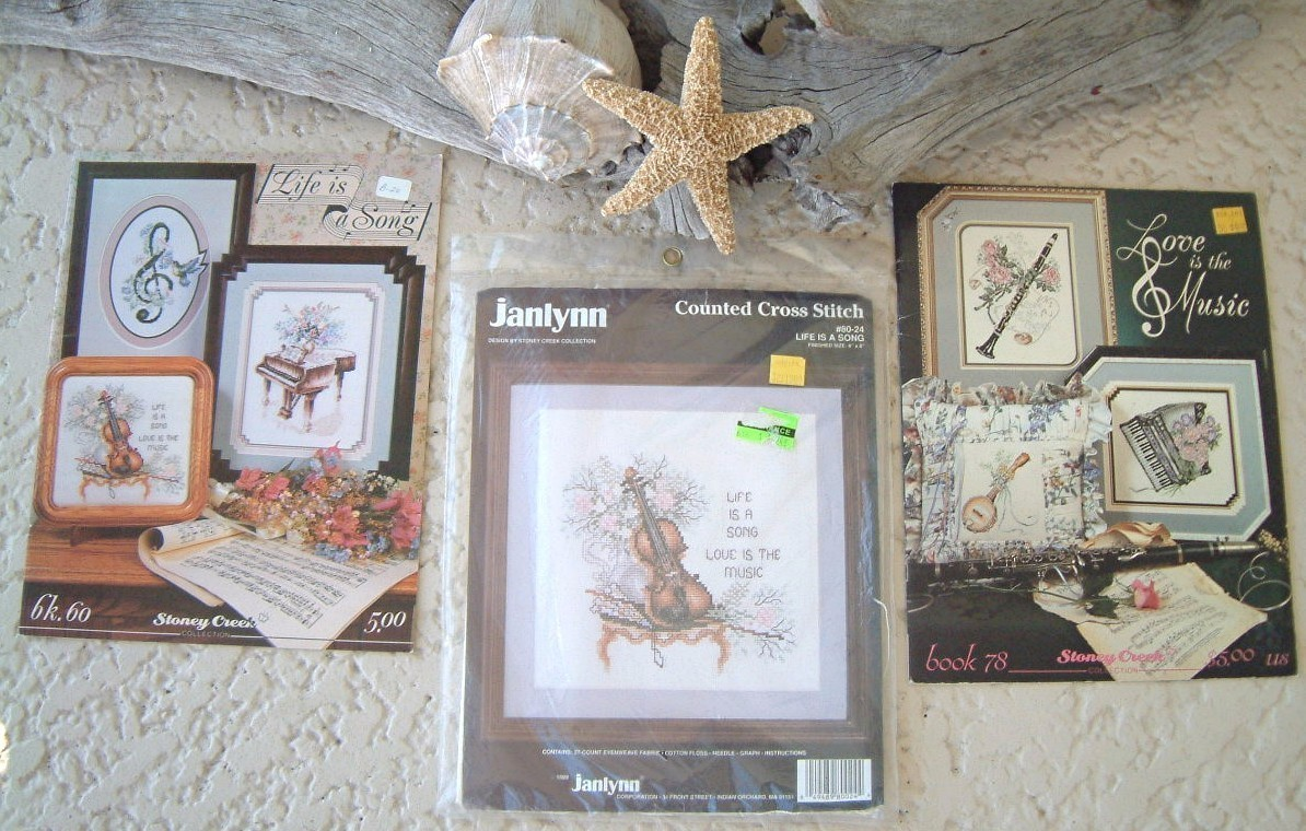 Vintage Janlynn Cross Stitch Kit & Books Musical Instruments