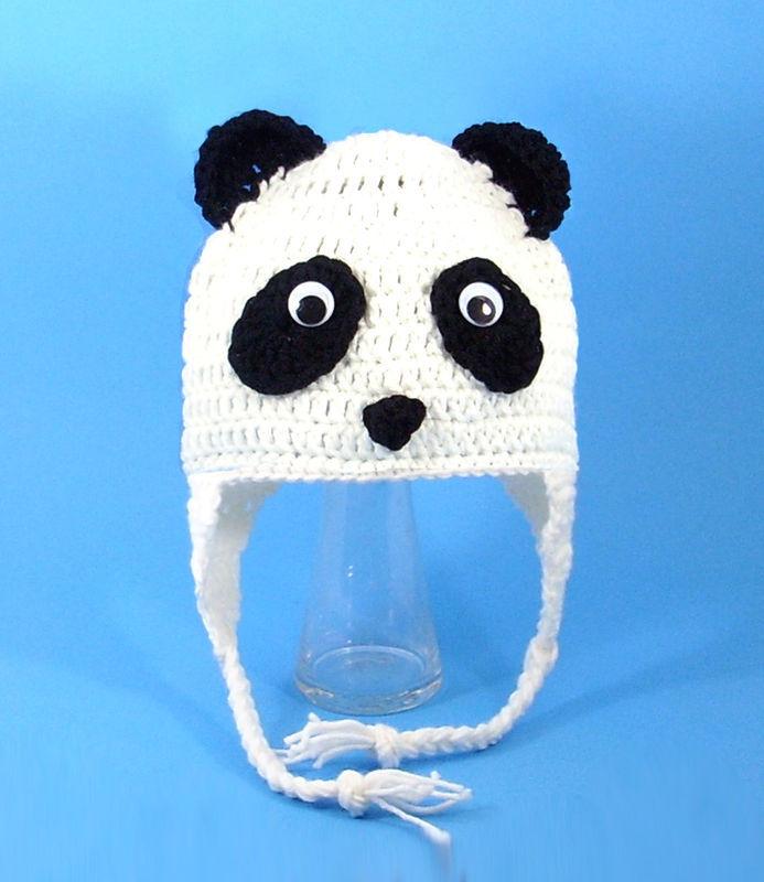 Panda Bear Earflap Hat Crochet Pattern : Panda Bear Earflap Hat, White Crochet Beanie, Send Size ...