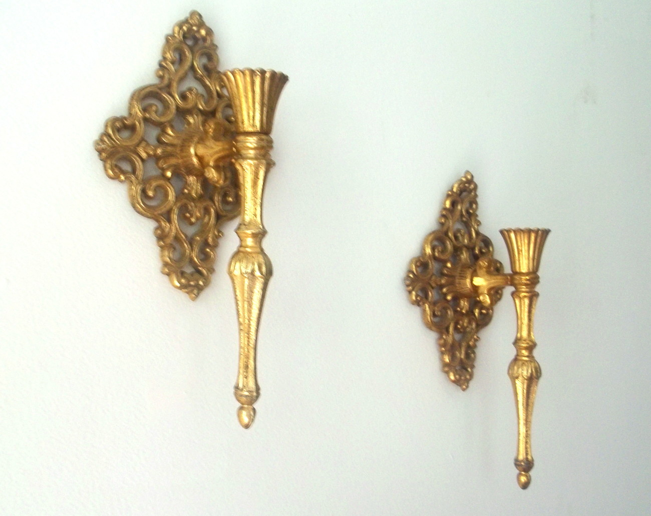 Home Interiors Brass Wall Sconces Gold Diamond Scroll Set of 2 - Candle Holders & Accessories