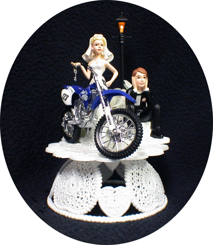 Yamaha Dirt Motorcycle Bike Blue Wedding Cake Topper 2