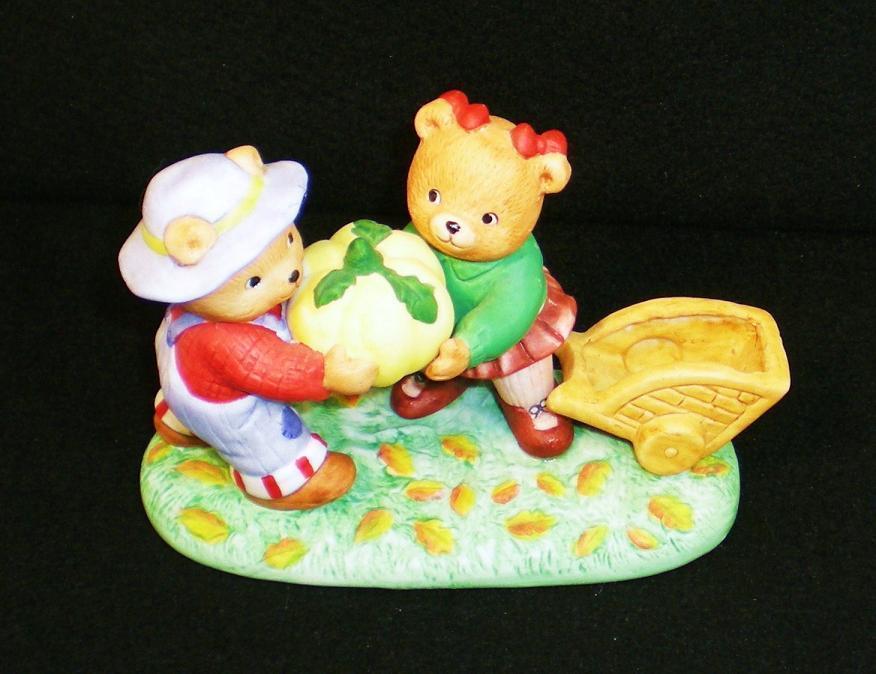 Image 1 of Calendar Bears October Harvest Bears Bronson Figurine 1990