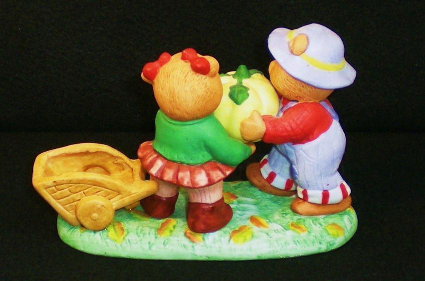 Image 3 of Calendar Bears October Harvest Bears Bronson Figurine 1990