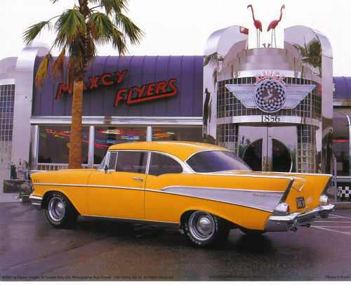 1957 CHEVROLET: Yellow Chevy and Diner - PRINT 10 X 8