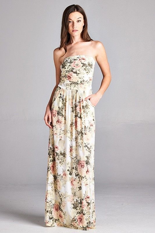 Image 0 of Sexy Maxi Boho Ivory Floral Strapless Dress, Vanilla Bay, S, M or L - Ivory