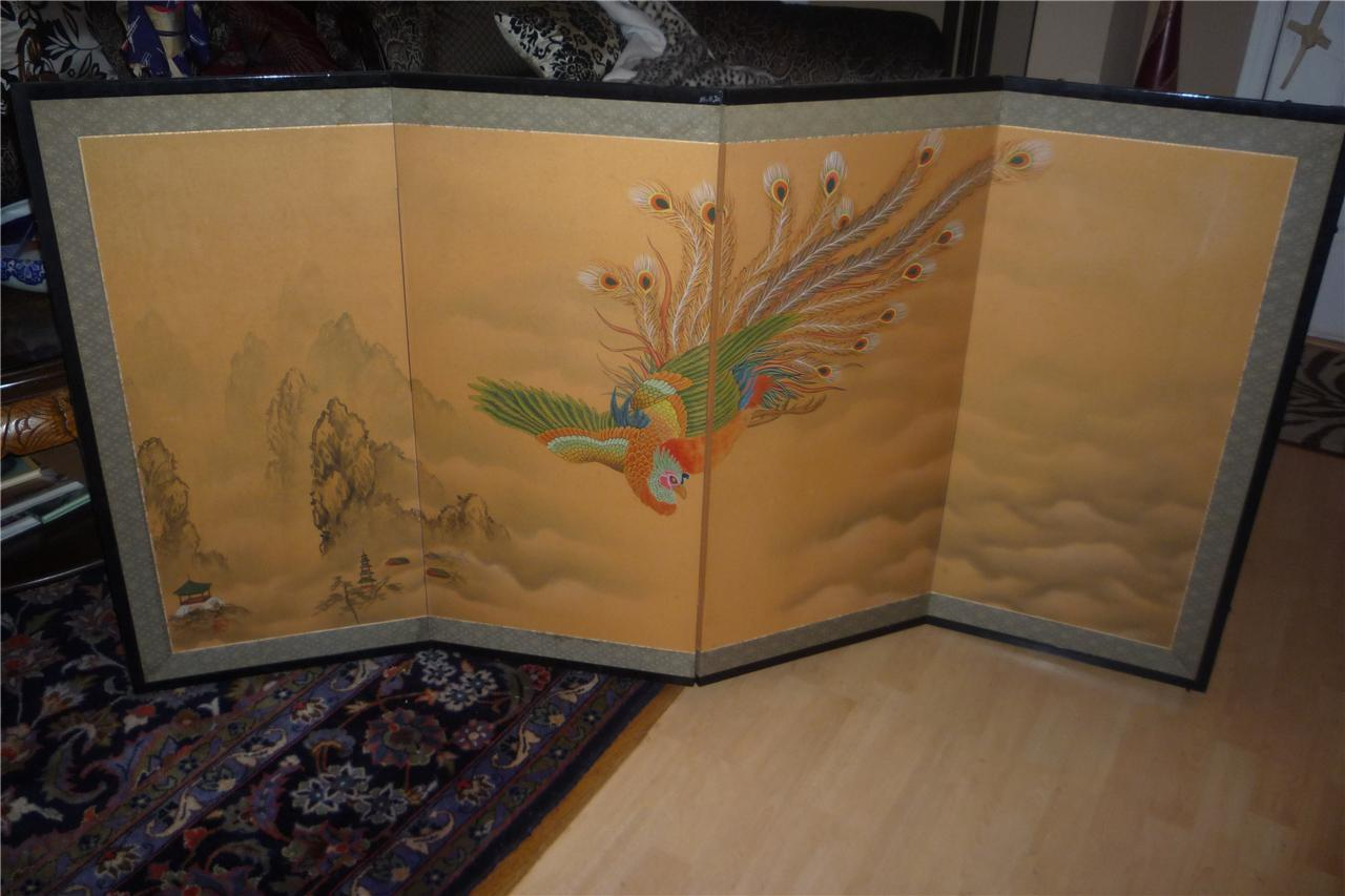 Superb JAPANESE BYOBU 4 FOLDING SCREEN BIRD MOTIF