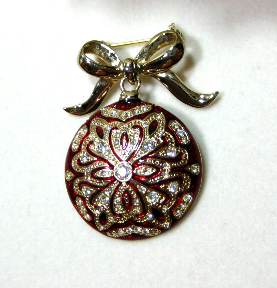MONET Red Enamel & Rhinestones Christmas Ornament Brooch